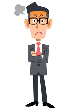 Full body of businessman wearing glasses angry with arms folded
