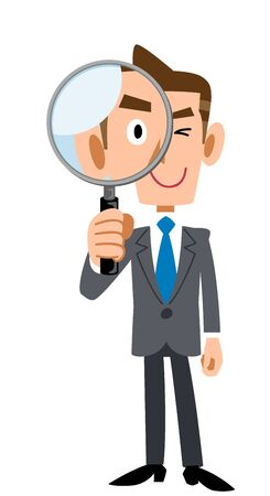 Full body of young businessman peeking through magnifying glass