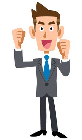 Young Businessman Is, Whole Enthusiastic Body