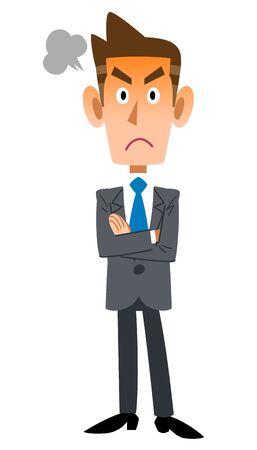 Full body of an angry young businessman with arms crossed Ilustrace