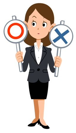 A woman in a suit thinks about correct and incorrect answers