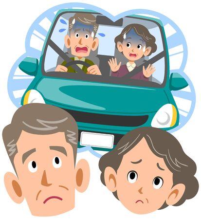 La coppia anziana è preoccupata per la guida di un'auto Vettoriali