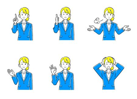 Business woman upper body Set of 6 poses