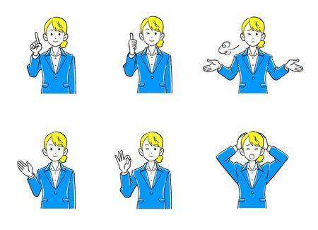 Mujer de negocios parte superior del cuerpo conjunto de 6 poses