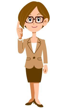 Ganzkörper einer Frau im Anzug, die mit dem Zeigefinger zeigt