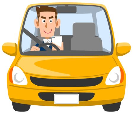A man driving Inattentive
