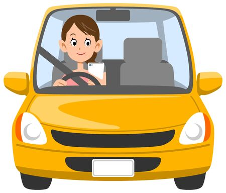 A woman driving Inattentive