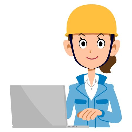 A woman in the construction industry who operates a personal computer blue clothes