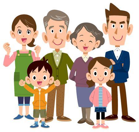 Happy three generation family Senior center