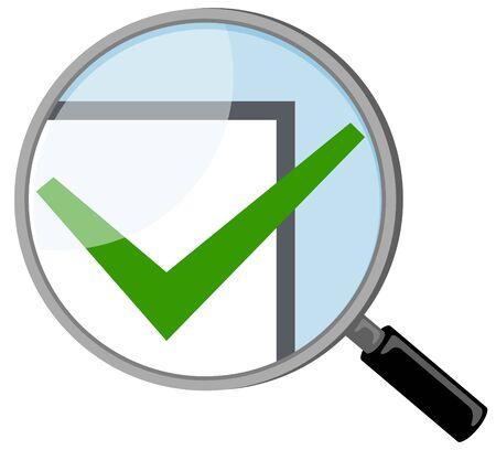Magnifying glass and check mark Reklamní fotografie - 137846167