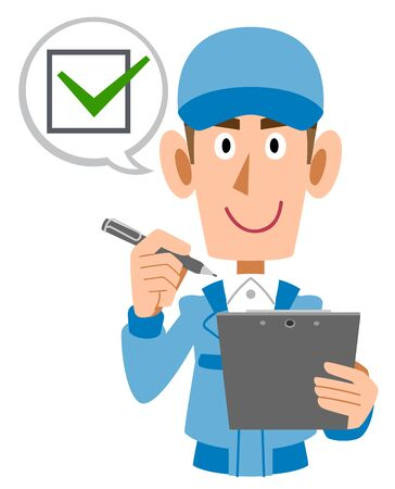 Working staff man with clipboard and pen Vector Illustratie