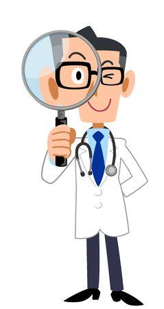Volledig lichaam van een mannelijke arts die door een vergrootglas kijkt