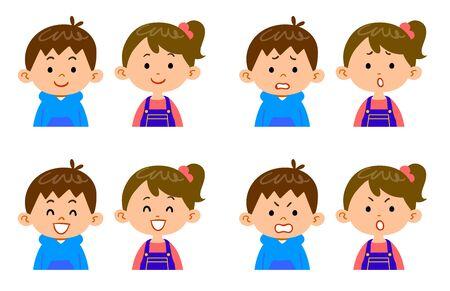 4 expressions faciales et haut du corps des enfants de sexe masculin et féminin Vecteurs