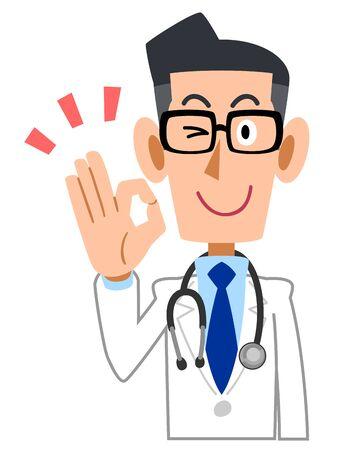 Medico maschio che dà segno OK