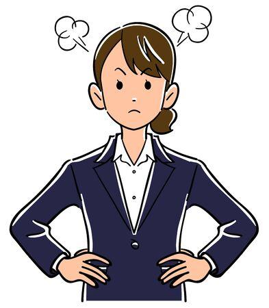 Wütende junge Geschäftsfrau mit der Hand auf den Hüften