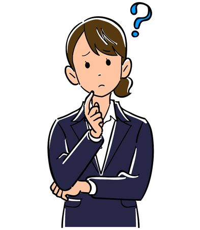 Upper body of young business woman thinking with folded arms