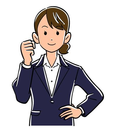 Guts pose young business woman upper body Illustration