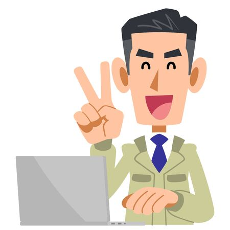 Construction worker man with V sign and laptop
