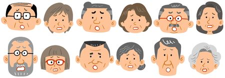 Six types of senior couple expressions Vectores