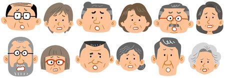 Six types of senior couple expressions 矢量图像