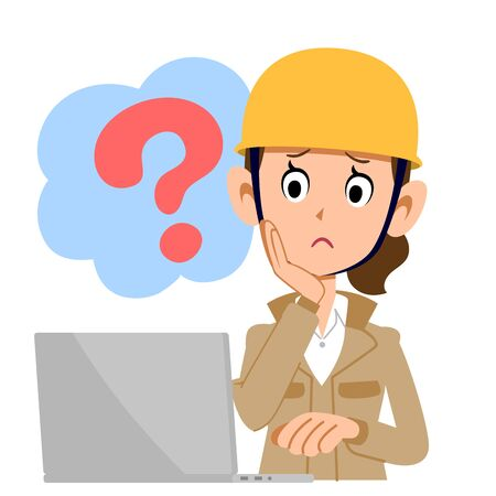 A construction woman who operates a computer with doubt beige clothes