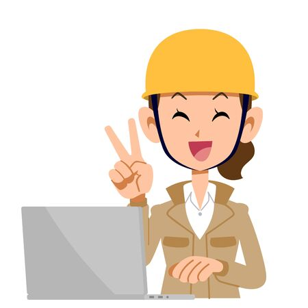A woman in the construction industry who operates a computer with a peace sign