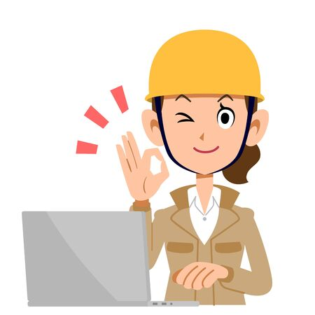 A Woman in the Construction Industry Who Operates a Computer with an OK Sign , Beige Clothes