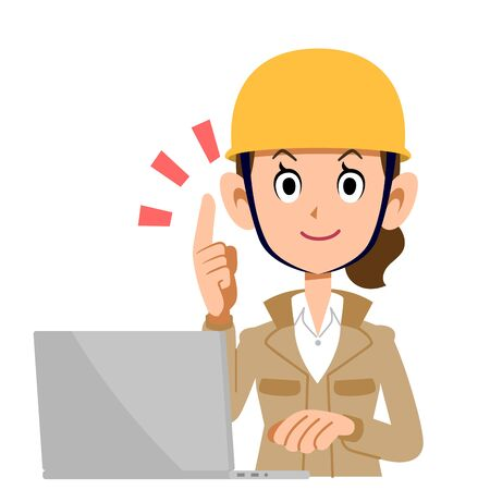 A Woman in the Construction Industry Who Operates a Personal Computer While Explaining the Main Points, Beige Clothes