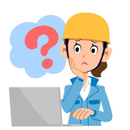 A construction woman who operates a computer with doubt blue clothes