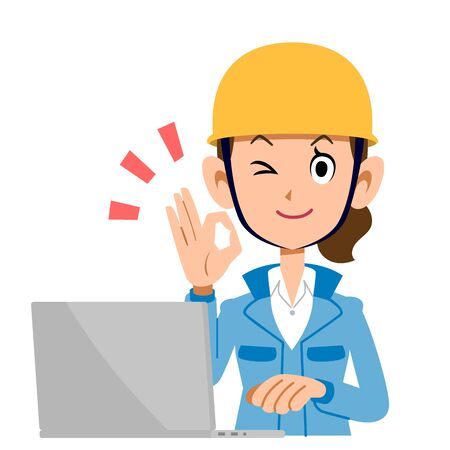 A Woman in the Construction Industry Who Operates a PC with an OK Sign, Blue Clothes