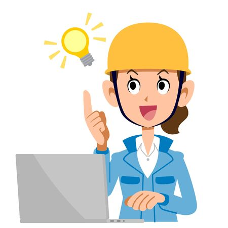 A woman in the construction industry who operates a computer with inspiration Ilustração