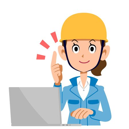 A Woman in the Construction Industry Who Operates a Personal Computer While Explaining the Points , Blue Clothes Ilustração