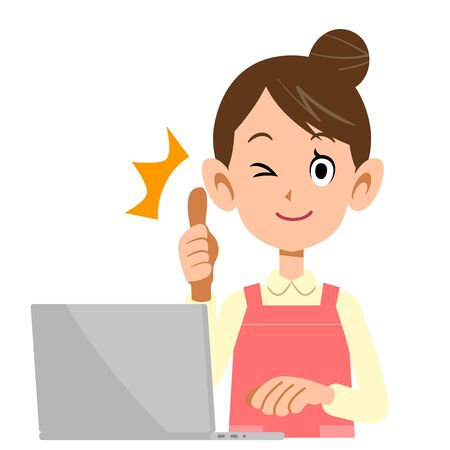 A woman wearing an apron operating a laptop that thumbs up