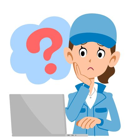 A woman in blue work clothes operating a personal computer with doubt 矢量图片