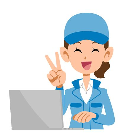 A woman in blue work clothes that puts out a peace sign and operates a computer