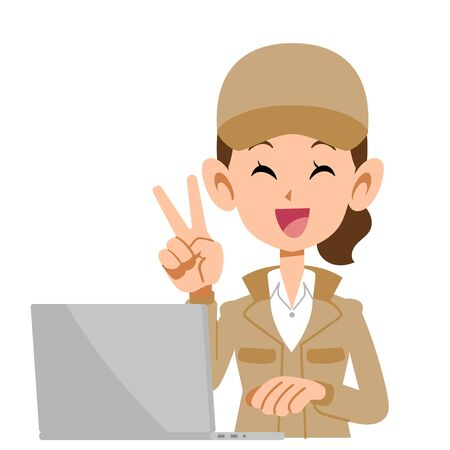 A woman in beige work clothes that operates a personal computer with a peace sign with a smile