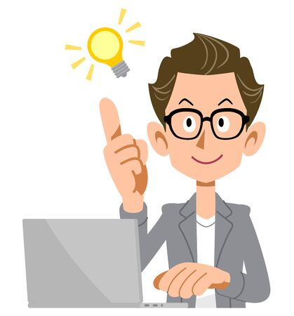 A creator-style man and a laptop with an idea Illustration