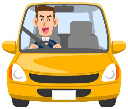 Male driver driving with a smile