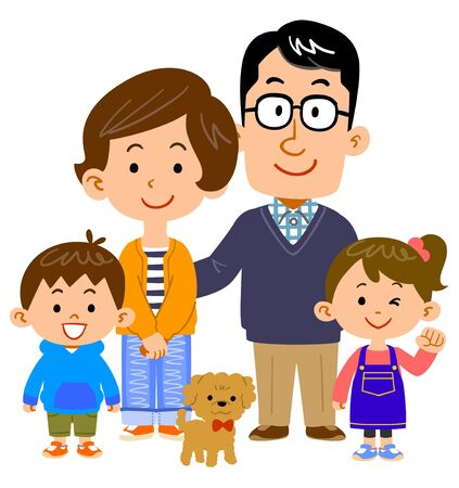 Happy family of four and pets