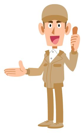 Work staff in beige uniforms thumbs up pointing to the right side Illustration