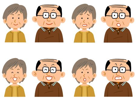 A set of facial expressions of a male and a petite female elderly couple