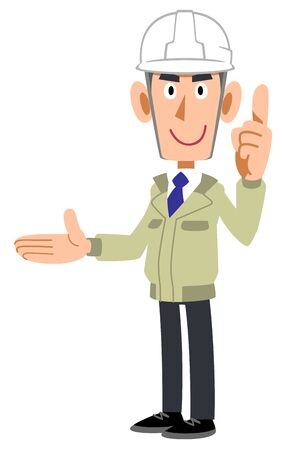 A man at a construction shop who introduces the right side with his index finger up