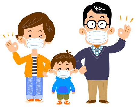 Family of three with masks whole body Vecteurs