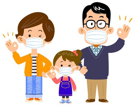 Family of three with masks whole body