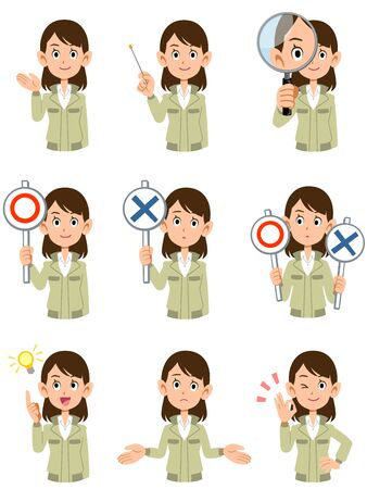 Upper body of office worker woman wearing work clothes9 different facial expressions and gestures