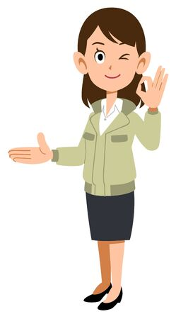 A woman in work clothes guiding the right side and giving an OK sign  イラスト・ベクター素材