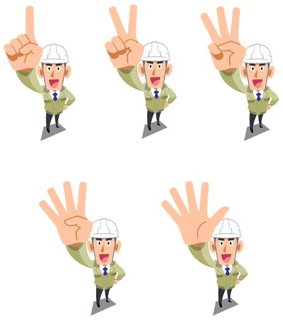 Construction worker wearing a helmet showing numbers and order with fingers Zdjęcie Seryjne - 142045247