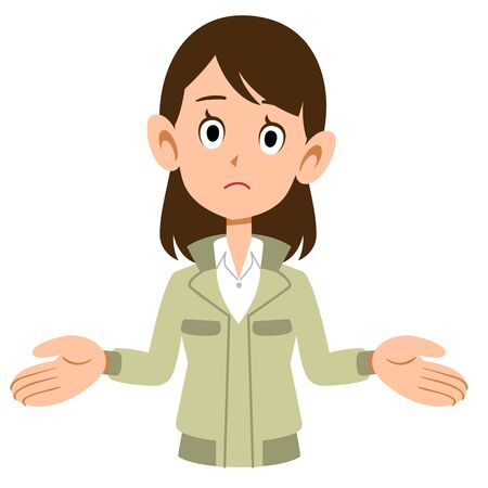 A woman wearing work clothes spreading both hands  イラスト・ベクター素材