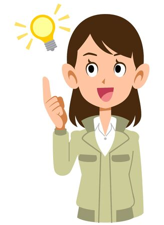 A woman in work clothes with a flashing idea