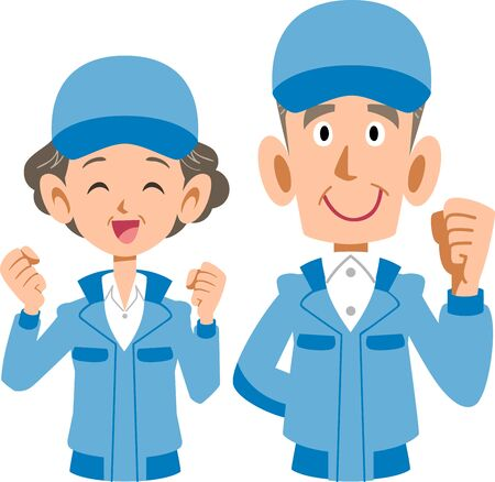 Upper body of senior man and woman in blue work clothes Stock Illustratie